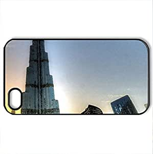 superb view of burj khalifa in dubai hdr - Case Cover for iPhone 4 and 4s (Skyscrapers Series, Watercolor style, Black)