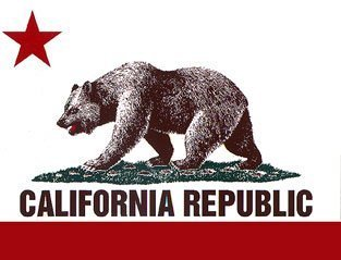 California Republic State Flag Bear Bumper Sticker Decal