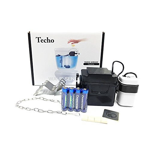 TECHO Touchless Toilet Flush Kit Wave Automatic Motion Sensor Battery - North Mall County