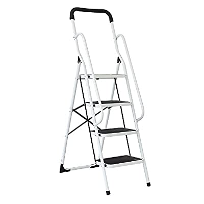KARMAS PRODUCT 4 Step Ladder with Handrails for Home,Step Steel Frame Stool with Anti-Slip Sturdy and Wide Pedal