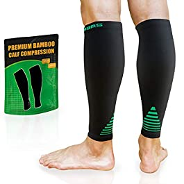 BAMS Bamboo Leg & Calf Compression Sleeve for Men & Women- Shin Splints, Running