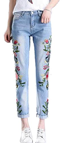 Cotton Embroidered Jeans (Women's Pencil Stretch Embroidered Floral High Waist Slim Boyfriend Jeans Blue)