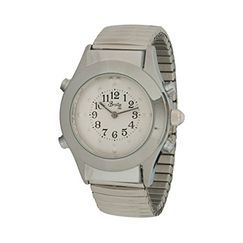 - Womens Chrome Braille Talking Watch-English-White Face Expansion Band