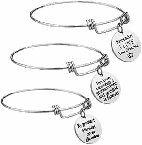 iJuqi Grandma Gift 3PCS Bracelet Set - Stainless Steel Motivational Grandmother Jewelry Gift from Granddaughter Grandson, Expendable Charm Bangle Bracelets Gift for Mother's Day, Birthday Christmas