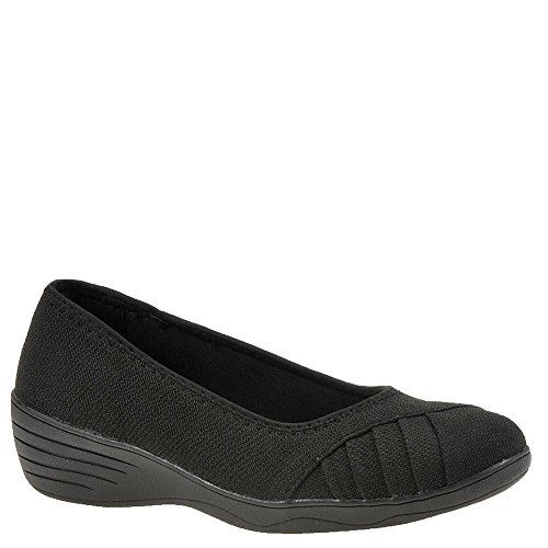 Black Flats Shoes Skimmers (Skechers Kiss Freesia Womens Slip On Ballet Flat Skimmer Black 6.5)