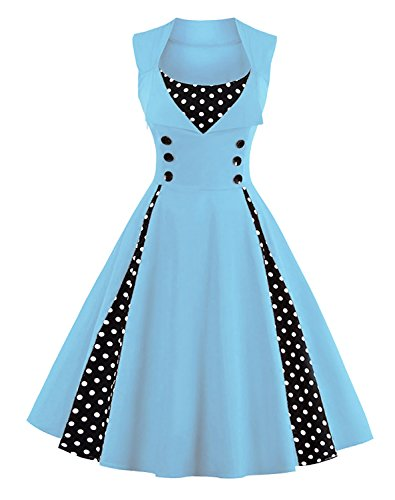 [Killreal Women's Sleeveless Rockabilly Casual Vintage Party Cocktail Dress with Polka Dot Patchwork Light Blue] (1950 Dress)