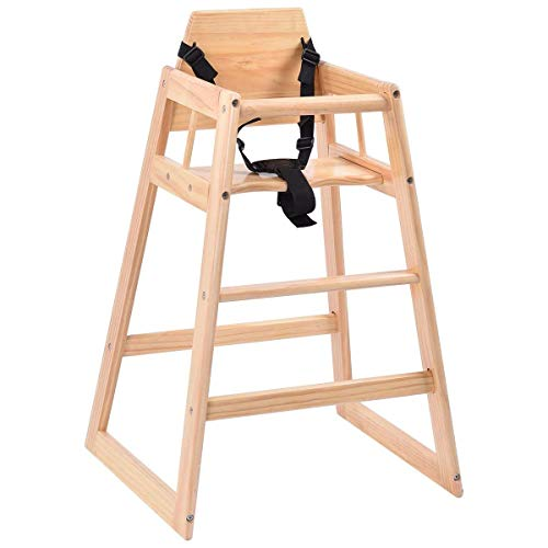HONEY JOY Wooden High Chair, Infant Feeding Chair with Safety Harness, Commercial Natural Wood High Chair for Babies and Toddlers (Natural)