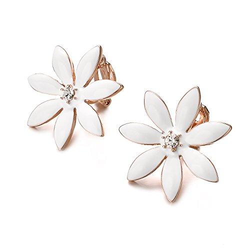 Yoursfs Flower Clip On Earrings for Women Non Pierced Ears Rose Wedding jewelry (White Clip Earrings) … by Yoursfs (Image #3)