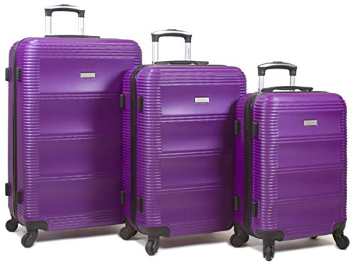 Dejuno 25DJ-801-PURPLE Helix Hardside Spinner Luggage Set44; Purple – 3 Piece