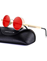 Gothic Steampunk Sunglasses for Women Men Round Lens...