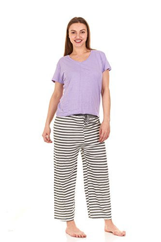 Unique Styles Womens Pajama Set 100% Cotton Short Sleeve Top and Pants Sleepwear (X-Large, (Unique Pajamas For Women)