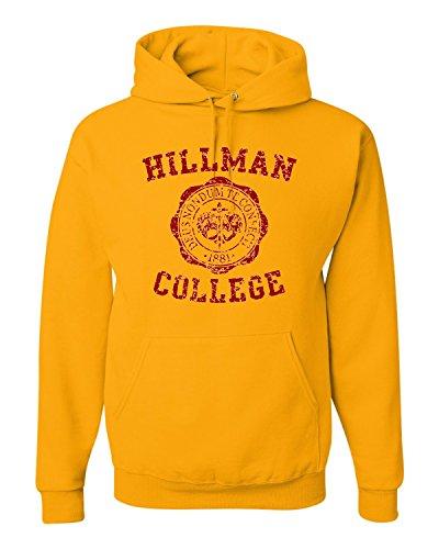 Go All Out Screenprinting Medium Gold Adult Hillman College Retro Sweatshirt Hoodie (Jumper Retro)