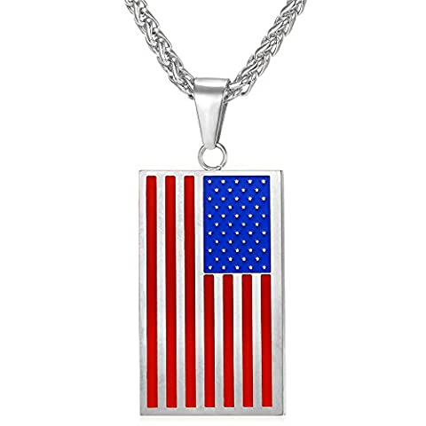 US Flag Subdued Pendant Stainless Steel Chain Red Enamel American Style Necklace For Men (Necklace For Men Cool)