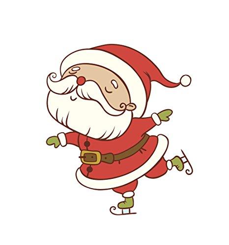 Winter Holiday Christmas Red Santa Ice Skating Vinyl Decal Sticker (4