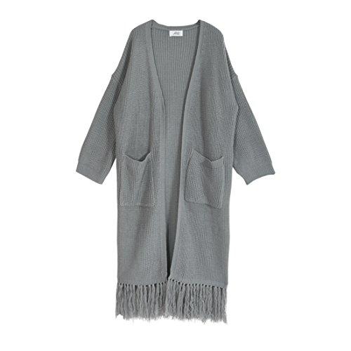 JULIA BOUTIQUE(ジュリアブティック) 裾フリンジニットロングカーディガン レディース