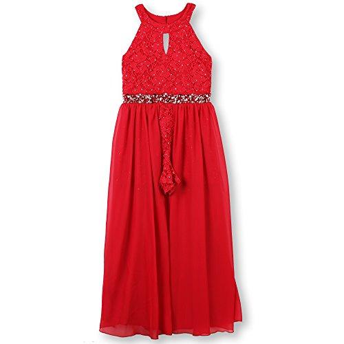 Speechless Girls' Big High Neck Maxi Romper Dress, Red Silver, -