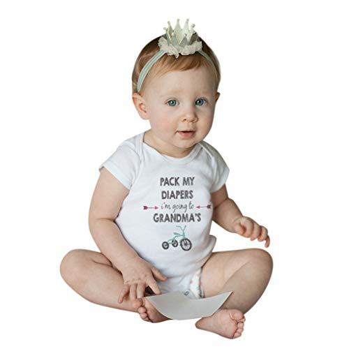 ZEFOTIM Neutral Baby Romper 0-12 Months Newborn Baby Girls Boys Layette Rompers Clothes(White,Small)