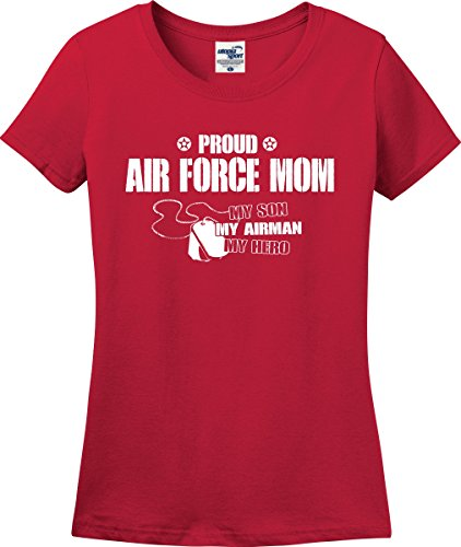Proud Air Force Mom My Son Airman Hero Ladies T-Shirt (S-3X) (Medium, Red) (Airman Fitted T-shirt)