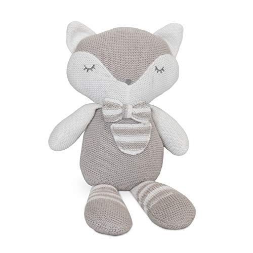 Living Textiles Baby Knit Plush Toy w/Rattle - Charlie Fox - Premium 100% Cotton Super Cute Soft & Fun Stuffed Animal Character   for Infant,Newborn,Stuff,Knit,Doll,Gift,Shower,Boy,Girl