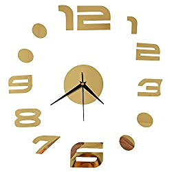 Happy Hours - Stylish 3D Frameless Wall Clock / Creative DIY Digital Mirror Home Decor Watch / Wall Sticker Design Bell for Cafe Bedroom Living Room Dormitory(Gold)