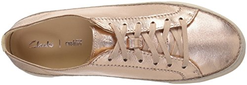 Clarks Womens Hidi Järnek Sneaker Steg Guld Läder
