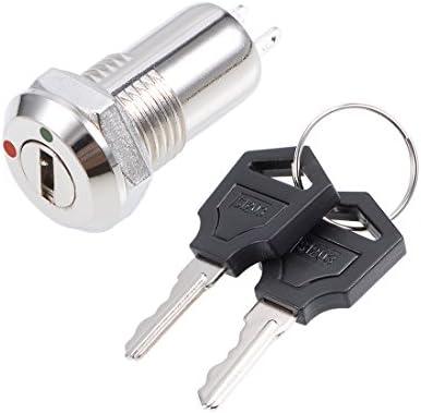uxcell 押しボタンスイッチ プッシュボタンスイッチ ON OFF電気キーロック プラスチック 2ポジション 11.5mm S1204