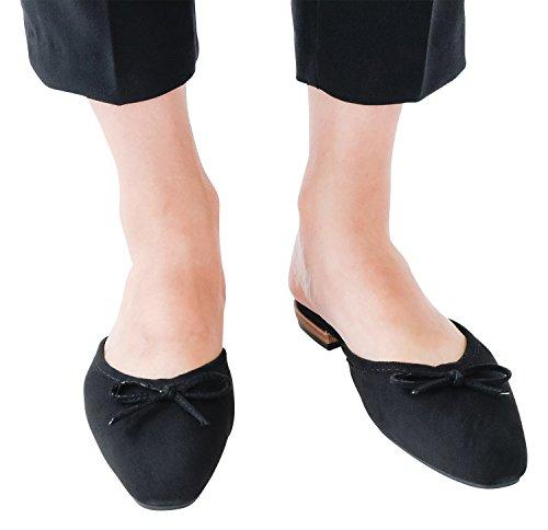 AnnaKastle Womens Vegan Suede Pointed Toe Dress Flats Mule Slide With Bow Black gPqV6vZDj