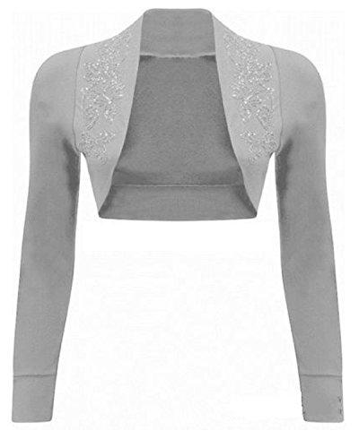 CHOCOLATE PICKLE NEW Womens Beaded Long Sleeve Shrugs Sequin Bolero Crop Cardigan Top (4/6, Light Grey)