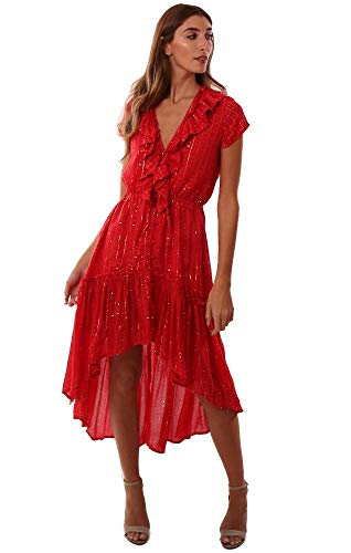 Sundress Dresses Ruffle V Neck Short Sleeve Button Up Hi Low Red Midi - Red - -