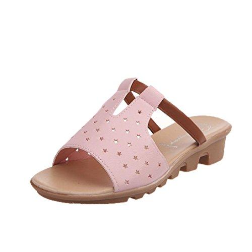 bescita Frauen Hausschuhe Weiblich Sandalen Fashion Solid Sommerstrand  gleitet Schuhe (37, Rosa)