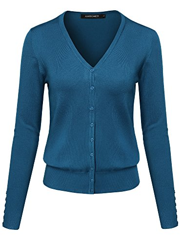 Basic Solid V-Neck Button Closure Long Sleeves Sweater Cardigan Teal2 ()