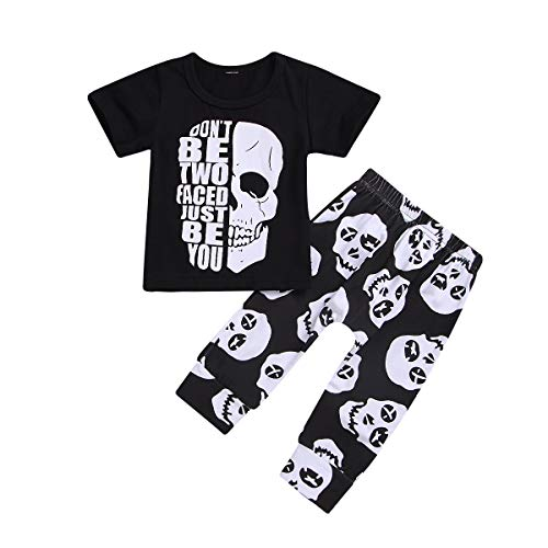 2pcs Toddler Kids Baby Boys Summer Outfits Letters Print Casual T-Shirt Tops+Pants Clothes Set (3-6 Months, Skull Black tees+Pants setpants Set)