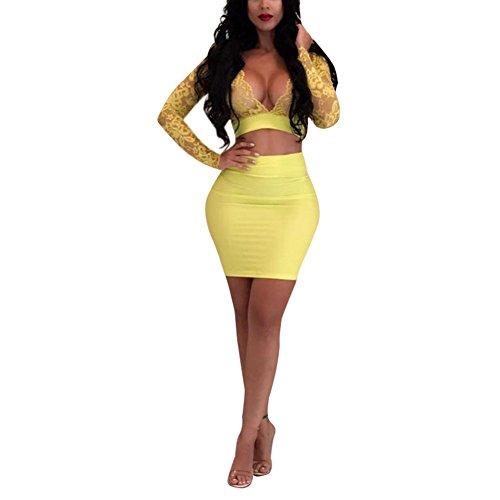 2 Piece Outfits Clubwear Long Sleeve Sheer Mesh Crop Top Skinny Mini Skirt Set Yellow XL