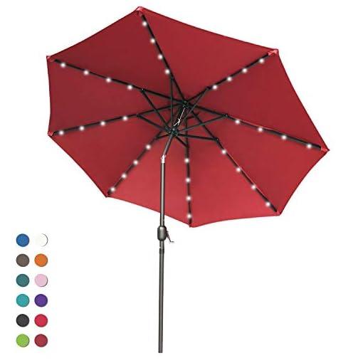 Garden and Outdoor ABCCANOPY 9FT Patio Umbrella Ourdoor Solar Umbrella LED Umbrellas with 32LED Lights, Tilt and Crank Table Umbrellas for… patio umbrellas