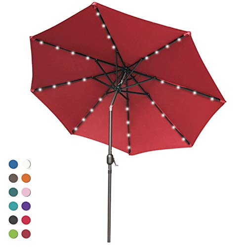 ABCCANOPY 9FT Patio Umbrella Ourdoor Solar Umbrella LED Umbrellas with 32LED Lights, Tilt and Crank Table Umbrellas for Garden, Deck, Backyard and Pool,12+Colors, (Burgundy) (Led Umbrella Patio)
