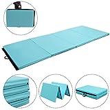 Giantex 4'x10'x2 Gymnastics Mat Folding Panel Thick Gym Fitness Exercise (Blue)