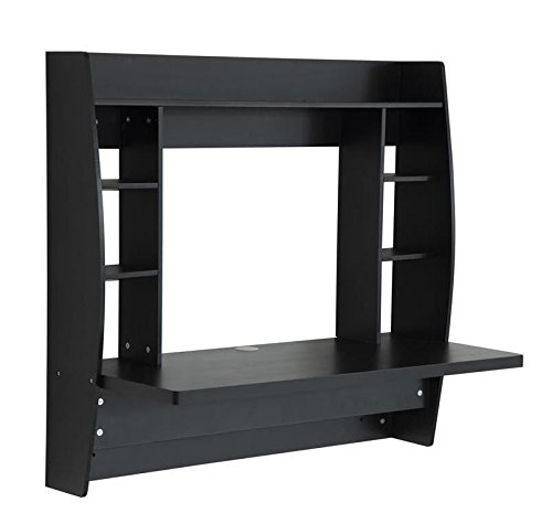 """HOMCOM Wall Mounted Floating Desk Computer Table with Storage Home Office Bedroom Furniture Black """""""