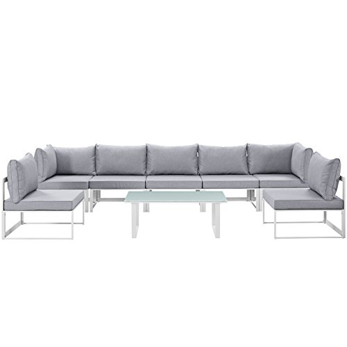 Modway EEI-1730-WHI-GRY-SET 8 Piece Fortuna Outdoor Patio Sectional Sofa Set, ()
