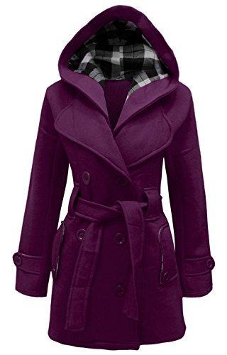 COUTURE FEMMES capuche avec Pourpre ceinture manteau polaire hiver veste cexi femmes boutonnage double 4UqdAZw4