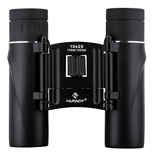 HUTACT Binoculars Compact, 10x25 Small and Lightweight, for Concert Theater Opera, Mini Pocket Folding Binoculars wih Fully Coated Lens for Travel Hiking Bird Watching Adults Kids (10x25 Black)