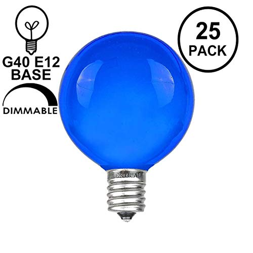 Novelty Lights 25 Pack G40 Outdoor Globe Replacement Bulbs, Blue, C7/E12 Candelabra Base, 5 Watt