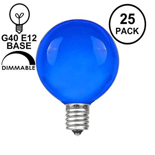 Novelty Lights 25 Pack G40 Outdoor Globe Replacement Bulbs, Blue, C7/E12 Candelabra Base, 5 Watt