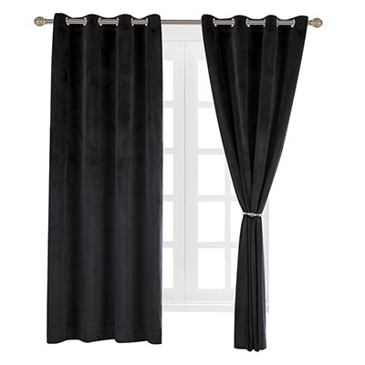 Velvet Grommet Panel Home Window (Cherry Home Set of 2 Velvet Thermal Blackout Curtain Panel Drapes Grommet Draperies Eyelet 52Wx84L inch Black(2 panels)Theater| Bedroom| Living Room| Hotel)