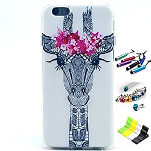 YULIN Giraffe Pattern with Stylus ,Anti-Dust Plug and Stand TPU Soft Case for iPhone 5C