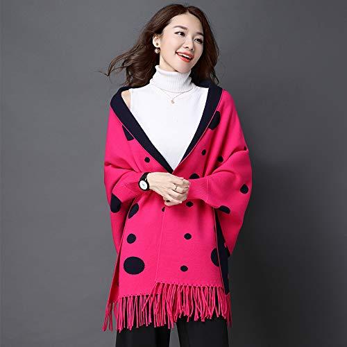 Yetta Le Donne Pipistrello Red Size Lunghe Paragrafo Red Maniche color Frange Marea Scialle Primavera Con Cardigan Punto M Femminile Maglia rrqdS