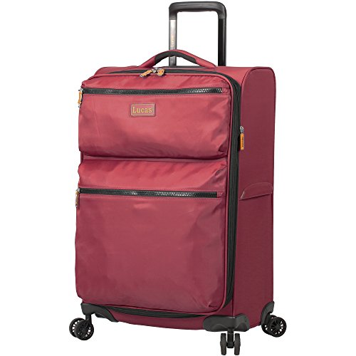Lucas Luggage Ultra Lightweight Softside 24 inch Expandable Suitcase With Spinner Wheels (24in, Red)