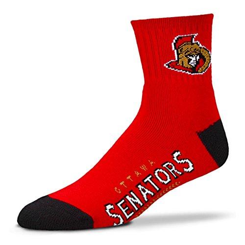 For Bare Feet Men's NHL Quarter Socks-Ottawa Senators-Large(10-13) ()
