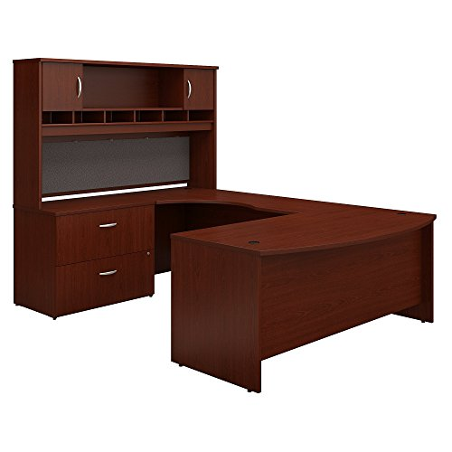 Bush Business Furniture Series C 72W Left Handed Bow Front U Shaped Desk with Hutch and Storage in (Mahogany Series Set)