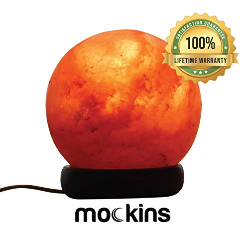 Mockins Natural Himalayan Salt Sphere Lamp with Beautiful Wood Base -Includes Light Bulb and On and Off Switch | Great Adult Night Light and Decor (Salt Lamp Round)