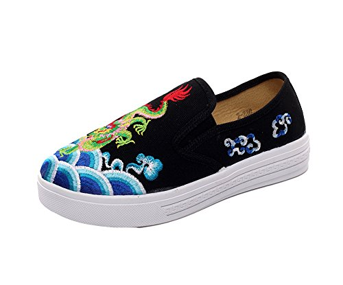 Loafer Dragon Women Black Shoes Slip on Flats Embroidery Chinoiserie Sneaker AvaCostume qS4xBUA